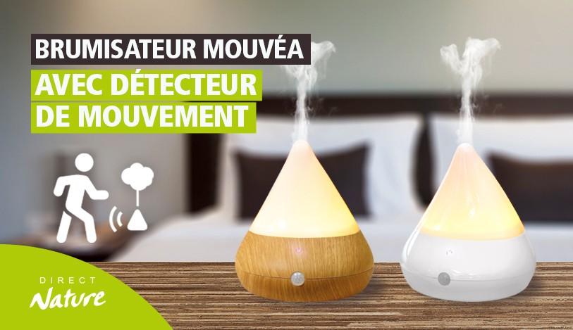 Découvrez le brumisateur d'huiles essentielles MOUVEA avec détecteur de mouvement infrarouge